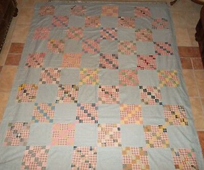 Antique Civil War Era Fabrics Quilt Top - 1800's, Hand & Machine Pieced 71 x 88""