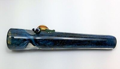 Chillum Glass Tobacco Smoking Pipe - Turtle on Irridescent - Made in Colo, USA