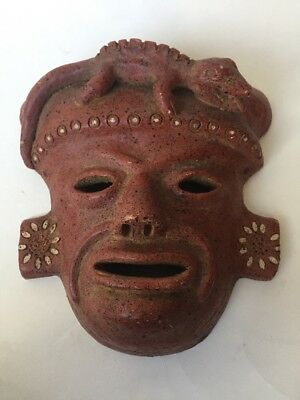 Mayan Aztec Folk Art Mask Ceramic Pottery Wall Hanging