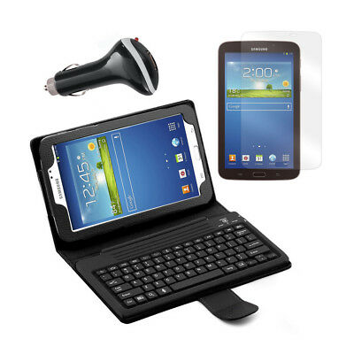 Bluetooth Keyboard Folio with Screen Protector and Car Charger for Samsung Galax