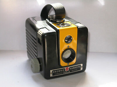 Kodak Brownie Hawkeye Flash. Refurbished. Vtg Kodak Yellow front. Ready for film