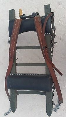 Vintage World War Ii Back Pack Rack Green With Leather Straps And Chains