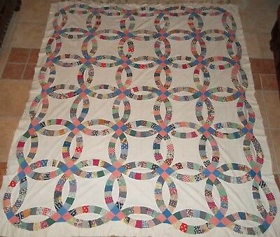 Antique / Vintage Double Wedding Ring Quilt Top ~ 1930's, Hand-Pieced, 70 x 82""