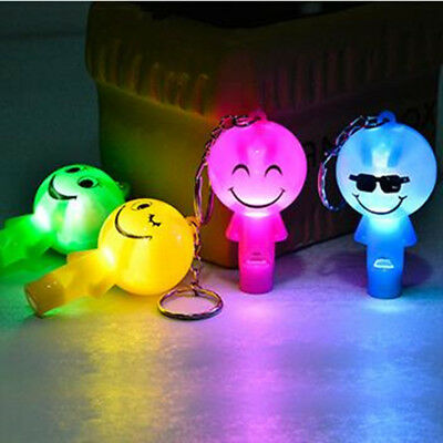 Cute LED Light 6cm Smiley Face Key Ring Key Chain Whistle Pendant Luminous