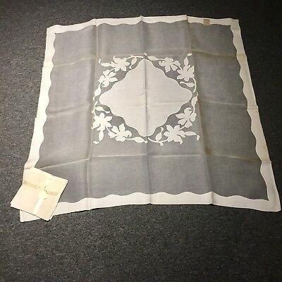 Vintage MADEIRA Linen Organdy Appliqué Embroidered Tablecloth Napkins Set NWT