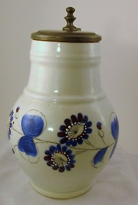 Blue and White Lovers Delight Large Pewter Lidded Tankard
