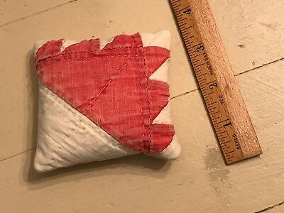 Old Red White Antique Bear Claw Pattern Quilt Tiny Pin Cushion Sewing Vintage