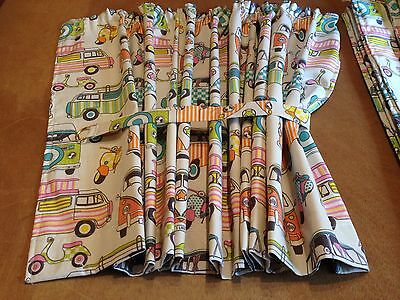 Happy Camper Tutti Frutti Fabric both sides,Curtains,VW T2, Thermal/Magnets