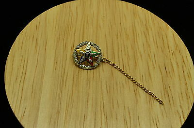 14K YELLOW GOLD SMALL ROUND ENAMEL STAR PIN WITH SEED PEARLS 13.5mm