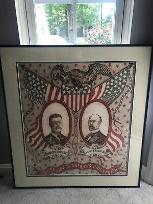 Vibrant & Rare Framed 1904 Campaign Bandanna - Theodore Roosevelt - Teddy