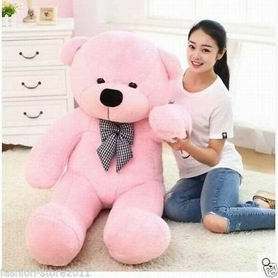 47'' Big Pink Plush Teddy Bear Huge Soft Stuffed Toy XMAS Birthday Giant Gift A+