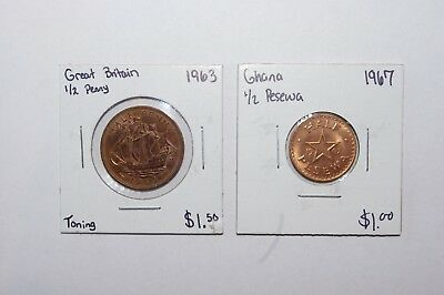 1967, 1/2 Pesewa Ghana (UNC) & 1963, 1/2 Penny Great Britain Lot 2 Value Coins