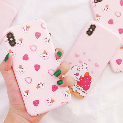 For iphone X 6/6s 7 8 Plus Cartoon Cute Strawberry Hamster TPU Phone Case Cover