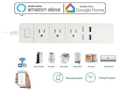 WiFi Smart Power Strip Alexa Wifi Surge Protector with 2 USB Ports+3 Outlets ML
