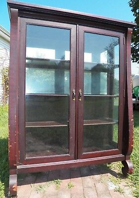 Antique CURIO china cabinet Mirrored Back 1950's mahogany display