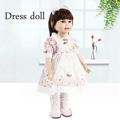 Cute Girl Baby Doll Dressing Vinyl Toy Dolls Floral skirt Girl Birthday Gift 18""