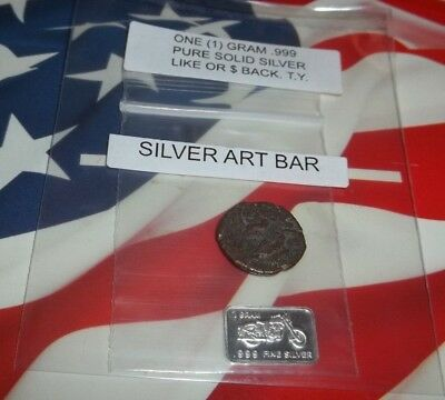 Group of:  1x 50-476AD Authentic Ancient Roman Coin, & 1 gram .999 Solid Silver