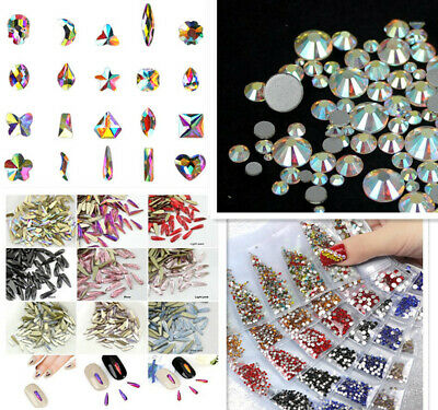 Crystal AB Rhinestones Glass Flatback Clear Strass Stones for Nail Art Phone #02