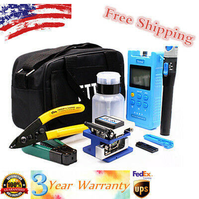 18PCS Fiber Optic FTTH Tool Kit Set FC-6S Fiber Cleaver & Optical Power Meter US