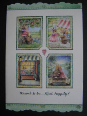 UNUSED vintage greeting card Holly Pond Hill ANNIVERSARY Meant 2 Be Most Happily