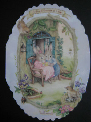 UNUSED vintage greeting card Holly Pond Hill Oval Diecut NEW BABY Bundle of Love