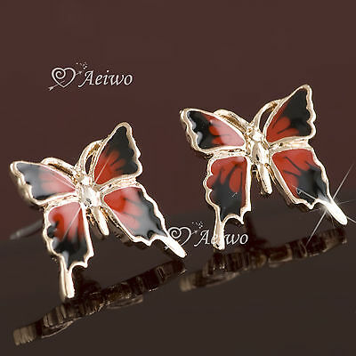 9K Gf 9Ct Solid Rose Gold Filled Butterfly Earrings Stud Red Black