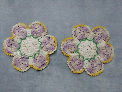 Vintage Pair Crocheted Purple Gold Pansy Hot Pads Pot Holders
