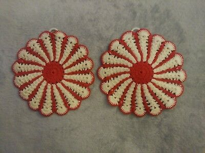 Vintage Pair Red White Crocheted Hot Pads Pot Holders