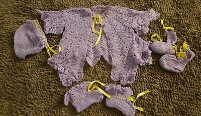 Vintage*Purple 4pc Sweater Set*Baby Girl Size 12-18mos
