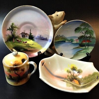 Lot x 4 Mid-Cent Vintage, Made in Japan - Porcelain Display Pieces, Hand Painted