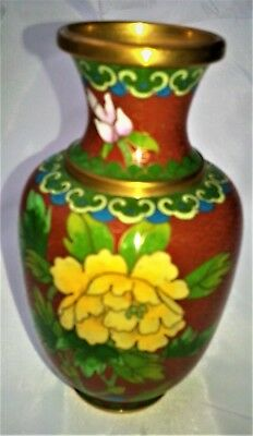 Cloisonne Vase With Beautiful Flowers And Bird. 13 cm Tall x 24 cm Round