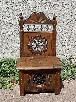 Vintage French carved Wood MINIATURE Furniture Bench  - BRITTANY -