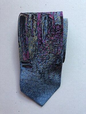 VINTAGE GIVENCHY Buildings Patterned Blue/purple Neck Tie Pure Silk