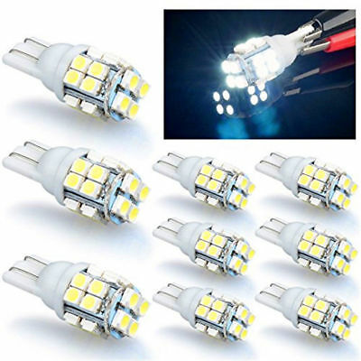 10X 12V T10 W5W 194 168 501 Car 20-SMD LED Bulbs White 6000K 3528 Super Bright
