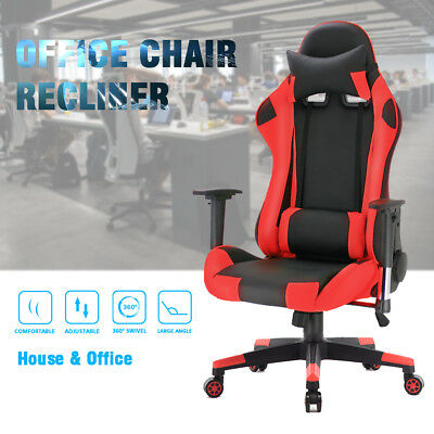 Swivel PU Leather Office Racing Sport Gaming Style Tilt Computer Desk Chair