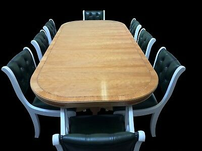 Art Deco Grand Regency Style Cherry Wood Dining Set French Polished