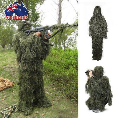5* Ghillie Suit Woodland 3D Camouflage Hunting Archery Sniper Hiding Clothing AU