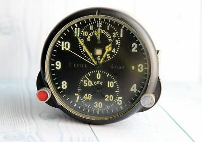 AChS-1 2 DAYS MILITARY AIRCRAFT MIG SU Cockpit CLOCK CHRONOGRAPH VINTAGE RUSSIAN