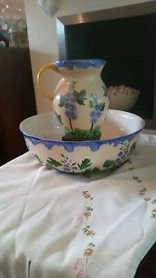 Large Ivory Ware Hancocks Hand Painted Vintage  Wash Jug And Bowel