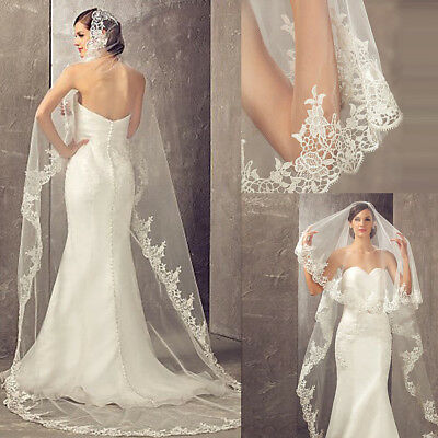White Ivory 3M 1T Cathedral Long Wedding Bridal Bride Veils Lace Edge no Comb