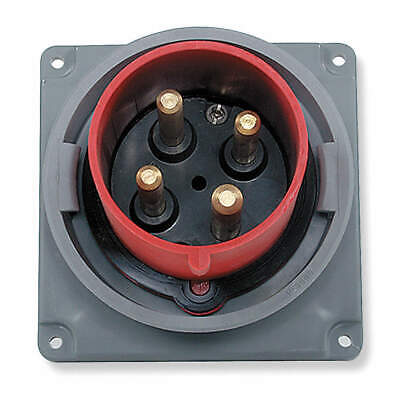HUBBELL WIRING DEVICE-KELLEMS IEC Pin and Sleeve Inlet,20A,480V,Red, HBL420B7W