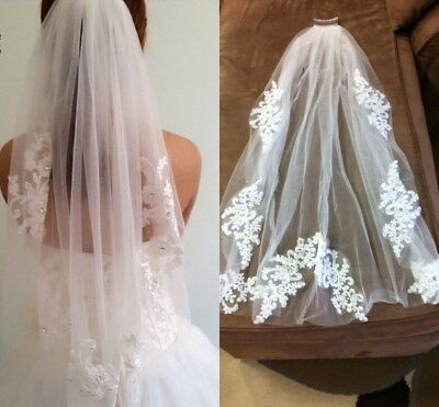 Short 1T White Ivory Bridal Veil with Comb Lace Edge Bridal Crystal Wedding Veil