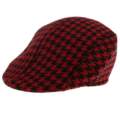 Baby Kids Plaid Beret Cap Boys Infant Toddler Cotton Newsboy Peaked Flat Hat