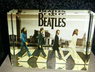 Rare Beatles Crystal Abbey Road With Liverpool Skyline 8x6cm