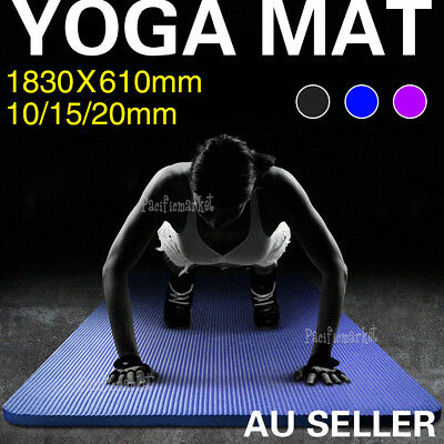 10/15/20mm Thick NBR Yoga Mat Pilate NonSlip Durable Exercise Fitness Gym Pad AU