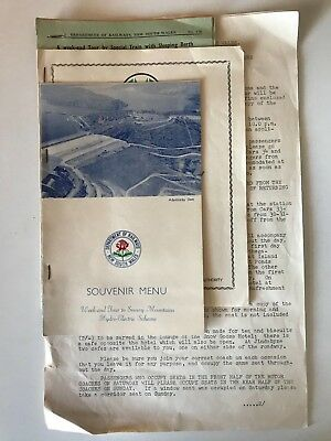 Nsw Government Railway - Tour Time Tables And Menu - 1958