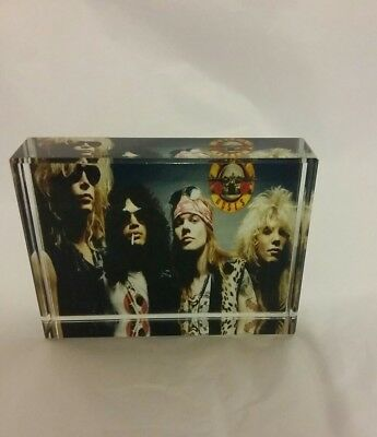 Rare Crystal Photo Of Guns N Roses 8x6cm Gift Box Included