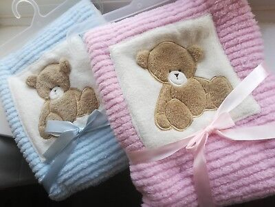 Cute Pink / Blue Teddy Bear Baby Embroidered Name Birth Personalised Blanket