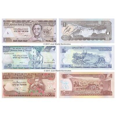 Ethiopia 1 + 5 + 10 Birr Set of 3 Banknotes 3 PCS UNC