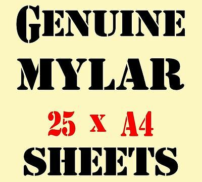 Genuine MYLAR STENCIL Film Sheets BLANK 25 x A4 Great Price 125 mic Re-useable